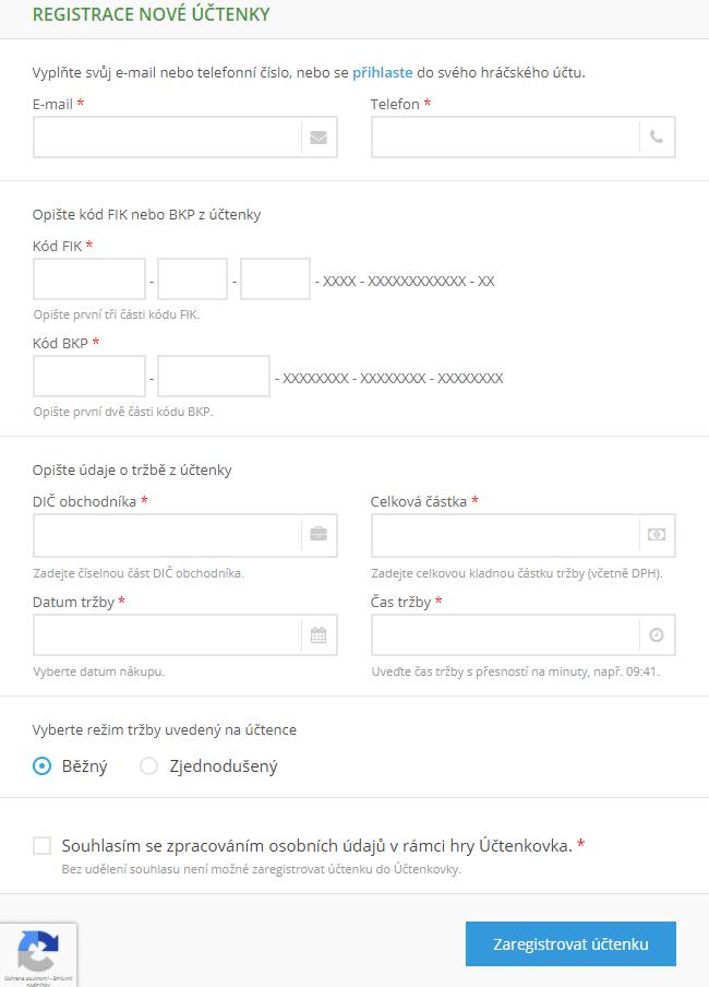 Přihlášení nové účtenky bez hráčského účtu